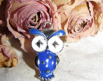 OWL pendant enameled Tibetan silver 38 X 21 mm
