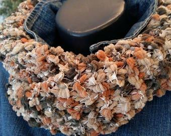 Tan beige khaki wool Snood scarf. Created by Charles chapo