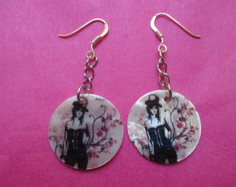 Mother/woman in Hat design earrings