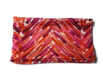 "7"" Wide Elastic Headband or Neck Warmer in Red Pink and Orange Herringbone Knit"