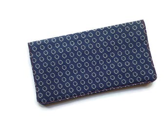 "Fabric Checkbook Cover 6.5""x3.5"", Coupons Wallet, Cash Holder Navy Blue, White and Red For Men and Women"