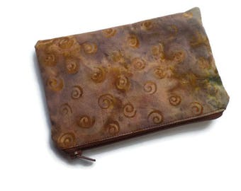 Small Multi Purpose Bag Taupe Batik Fabric, Pencil Case, Coin Purse, Toiletries Pouch, Documents Holder, Fully Lined, Zippered