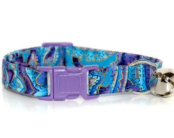 Island Blue,,Purple and Blue Paisley Cat Collar,