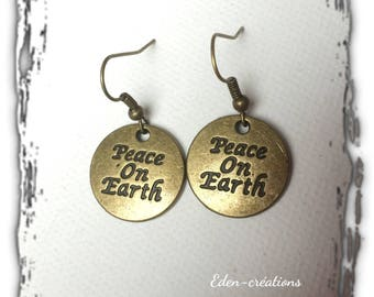 Earrings bronze sequin, message, world peace, peace on earth