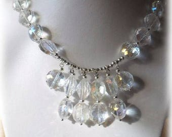 Very elegant transparent faceted round beads necklace and bright