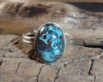 Adjustable silver ring and stone chrysocolla, turquoise blue