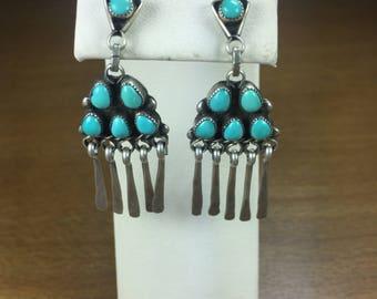Vintage Zuni Petit Point Turquoise Dangle Earrings