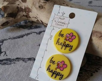 X 2 sign be happy 25mm round button