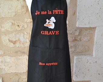 MAN apron I me fabric black engraved pete