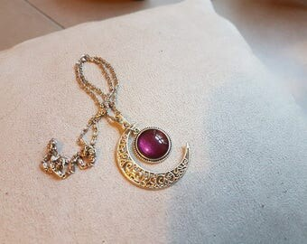 Burgundy silver Moon necklace