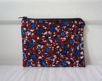 Makeup Bag blue wax flowers and Burgundy fabric