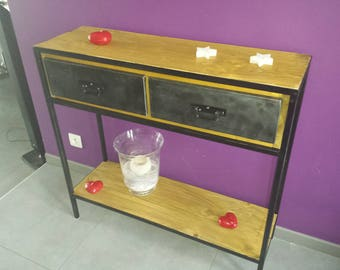 Industrial Cabinet console wood and steel