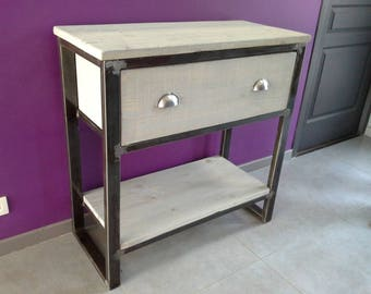 Industrial Cabinet console structure in solid pine and steel