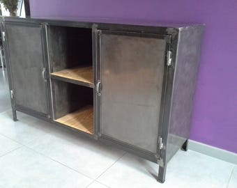 Furniture sideboard 2 industrial steel doors
