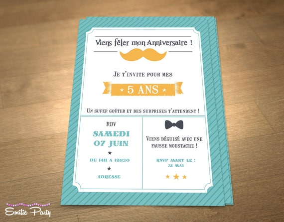 Articles similaires à Invitation d'anniversaire personnalisable sur le thème : moustache ! sur Etsy