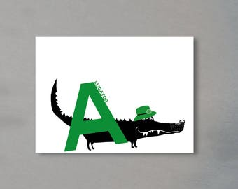 Letter card - 'A' as in Alligator
