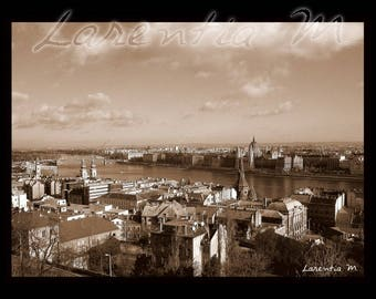 30X40cm photo view of the city of Budapest and Parliament, sepia