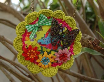 "Crochet textile necklace ""butterfly"""
