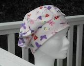 Turban bonnet béret chapeau chimio  lin'eva enfant en jersey rose papillon