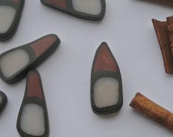 set of 18 beads polymer clay, triangular