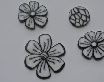 set 4 pieces of polymer clay flower shapes