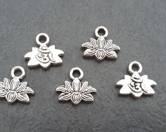 10 charms / connectors lotus flowers 11mm, pendant charm, flower, lotus flower pendant