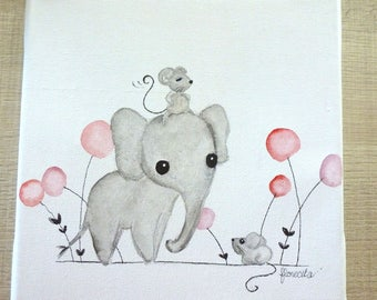 "Small canvas ""the elephant and little mice"""