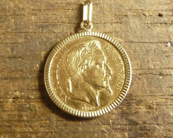 Hand cut piece to wear gold with 20 Francs Napoleon Maggie head