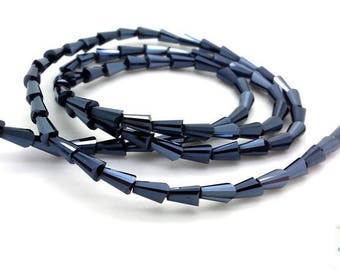 Dark grey: 20 conical 3.5x6mm (pv608) AB faceted glass beads
