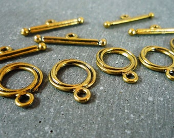5 sets Toggle clasps, gold antique (f40)