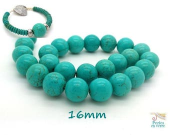 5 large beads 16mm turquoise Howlite (ph161)
