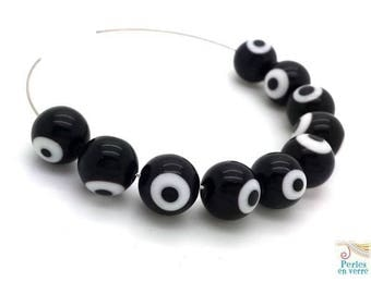 10 beads black round lampwork glass, the evil eye, 10mm, (pv223)