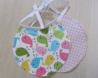 Set of two bibs round matching Oisaeux and pink star