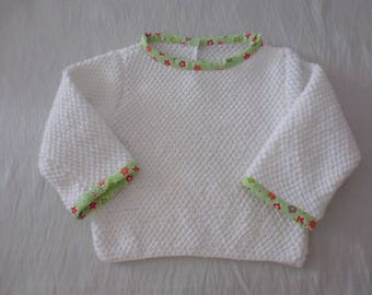 1 white baby sweater hand knitted