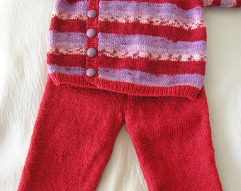 Multicolor wrap and his red pants size 6 months