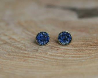 Stud Earrings half sphere in bronze and blue lapis lazuli stone