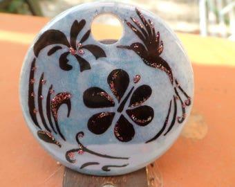 porcelain painting pendant chandelier and black bird motif
