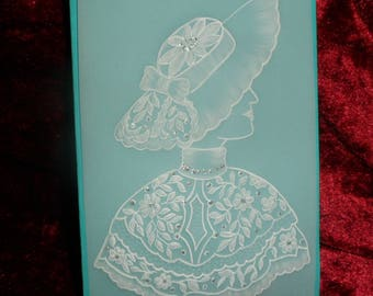 card any occasion in pergamano pattern woman bust