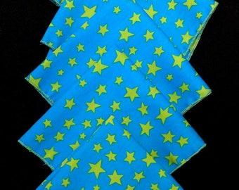 "SET of 5 handkerchiefs in fabric ""Green stars"""