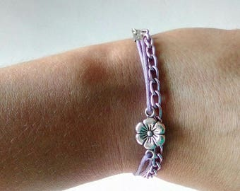 Beaded purple silver charm