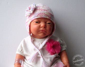 Bonnet bébé style péruvien multicolore tons pastel