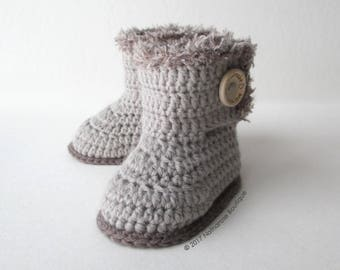 Chaussons bébé bottines gris taupe du 0 au 12 mois