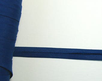 Cotton bias tape, 9 mm not folded, blue, sold by the yard.
