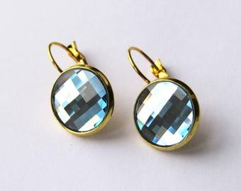 "Earrings cabochon Swarovski faceted Crystal ""Aquamarine"""