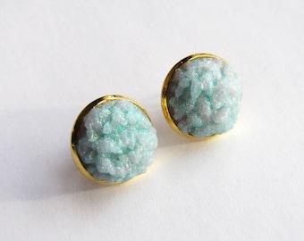 Faux druzy Mint gemstone cabochon earrings
