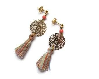 Rose gold and tassel earrings