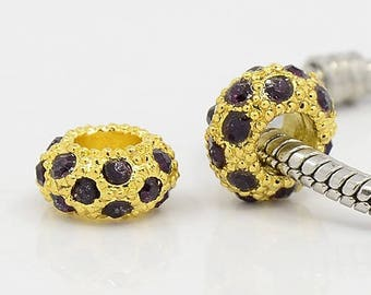 2 Gold beads and rhinestones purple Pandora Style