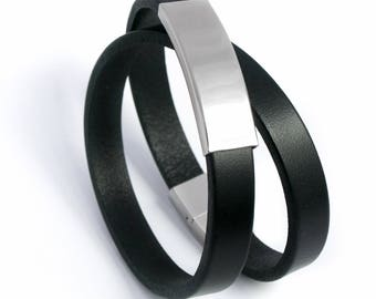 Mens black leather bracelet double turn from steel