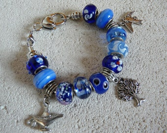 "BRACELET CHARMS ""LUCKY"" CHARMS AND BLUE"