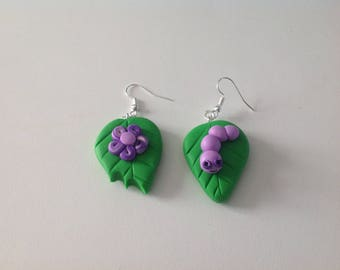 Small purple flower and Caterpillar earrings